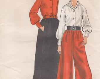Vintage Vogue Split Skirt, Long Skirt and Blouse, Womens Size 16 Uncut Sewing Pattern, 1970s