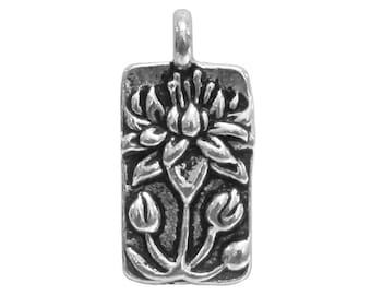 3 TierraCast Floating Lotus 11/16 inch ( 18 mm ) Silver-Plated Pewter Drop Charm