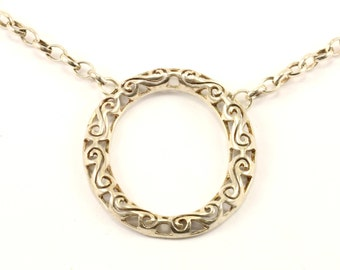 Vintage Scroll Design Round Necklace 925 Sterling Silver NC 1151
