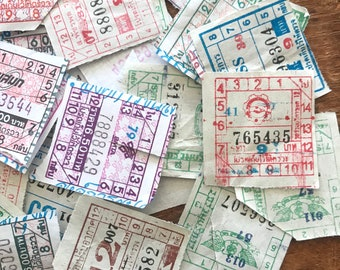 Thailand Bus Tickets - Set of 15 - Paper Ephemera, Bus Tickets, Junk Journal Tickets, Altered Art, Craft Supplies, Scrapbooking Ephemera