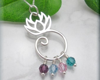 Lotus Flower Mothers Necklace, Mothers Day Gift, Keepsake Family Jewelry, Birthstone Jewelry, Sterling Silver, Gift for Mom, Lotus Blossom