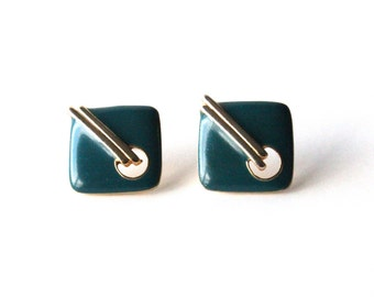 SILVER CHOPSTICKS - Gold and Teal Earrings | Geometric Earrings | Post Earrings | Green Earrings | Gold Earrings | Square Earrings