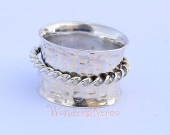 Sterling Silver Spinner Ring Wide Band , Meditation Ring, Yoga Ring,