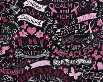 Pink Ribbon Chalkboard Fabric - Black - sold by the 1/2 yard