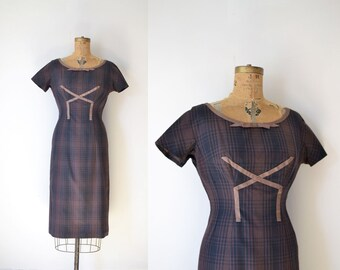 1950s Plaid Wiggle Dress / 50s 60s Oleg Cassini Dress