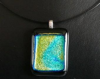 Handmade Fused Dichroic Glass Pendant  -  Shimmering Swirls - Perfect Gift under 20 Dollars