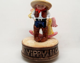 Otagirie Little Cowboy and Rocking Horse Music Box