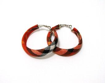 Vintage Plaid Hoop Fabric Earrings, Vintage Red Hoop Earrings