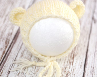 Off white ivory cream teddy bear newborn hat hand knit gender neutral photography prop - made to order