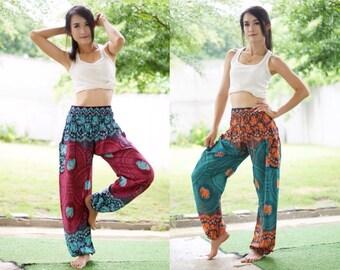 Flower Print Aladdin Pants, Aztec Ethnic Print , Boho Strenchy Pants, Elastic Waist Clothing Beach Women Baggy Casual CF00111