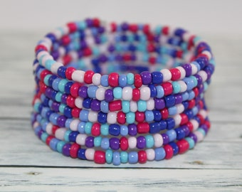 Blue and purple glass beads memory wire bracelet