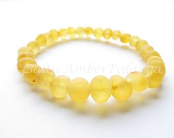Raw Unpolished Baltic Amber Lemon Color Bracelet