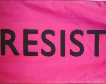 RESIST Screen-printed Protest Pink 3'x5' Flag
