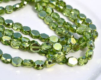 Bright Green Mirror 8mm Faceted Coin Beads 25