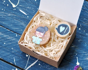 Girl in love brooches set Valentine's Day pins Blue heart brooch Wooden brooch Hand painted badge Gift for girlfriend Teachers gift