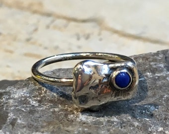 Lapis lazuli ring, sterling silver ring, birthstone ring, silver nugget ring, stacker ring, simple dainty ring, delicate ring - Origin R2484
