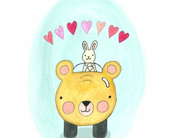 Bear and Bun Card // Blank // Valentine