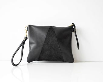 Leather crossbody bag / Leather Wristlet  / Leather clutch / Leather bag / Leather purse / Geometric leather bag  / Black leather bag
