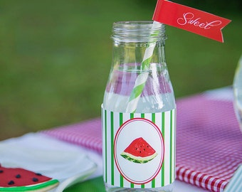 Watermelon Picnic Collection: Printable Straw Flags