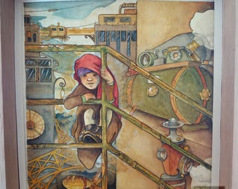 Bedouin - watercolor painting - steampunk illustration