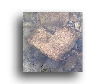 "Valentine Art Print, 4.5"" wrapped canvas, Underwater Rock Heart, Idaho River"