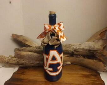 20%off, recycled wine bottle, wine bottle, glass bottle, kitchen accessory,  kitchen decor, collegiate decor, Auburn, War Eagle