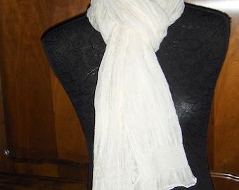 Vintage wrinkled white shawl/ Wrinkled white scarf/ Elegant women's scarf