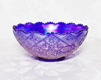 Vintage Imperial Glass Hattie Pattern Aurora Jewels Cobalt Carnival Glass Bowl