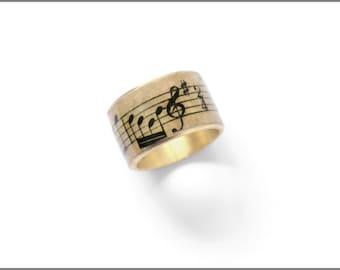 Noten-Schmuck, Musik-Noten-Ring, Musik Schmuck, Musik-Geschenk, antike Noten, Musikliebhaber, Ring