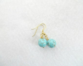 Turquoise Earrings Turquoise and Gold Gemstone Earrings Gift for Her Turquoise Jewelry Round Turquoise Howlite Earrings Turquoise Howlite