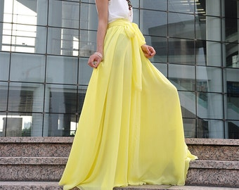 Beautiful Bow Tie Chiffon Maxi Skirt Silk Skirts Light Yellow Elastic Waist Summer Skirt Floor Length Long Skirt(037),#32