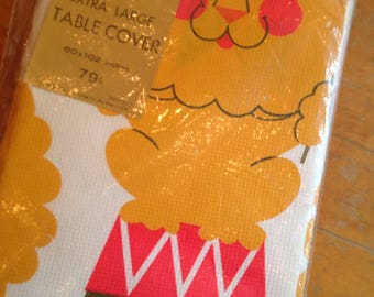 vintage nos nip lion circus paper table cover birthday party deadstock