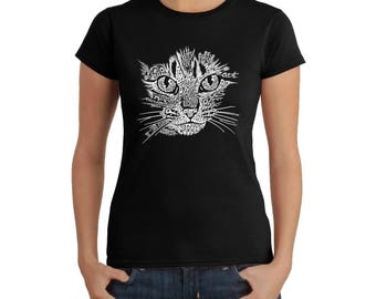 Women's T-shirt - Created out of Cat Themed Words Cat Face
