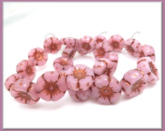6 Pink Opaline Czech Glass Flower Beads - Pink Bronze Wash Hibiscus Flower Beads, Hawaiian Flower Beads, 12mm Flower Beads, CZN93