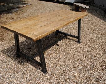 Vintage Industrial Box Girder Rustic Reclaim Dining Table