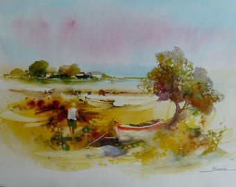 Landscape watercolor original watercolor on arche paper