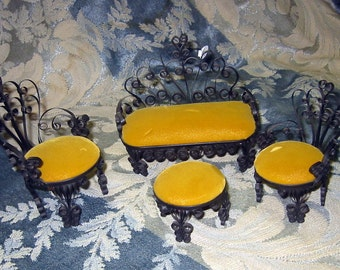 Tramp Art Tin Can Doll Furniture Set Gold and Black
