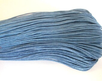 20 meters 0.7 mm azure blue waxed cotton thread
