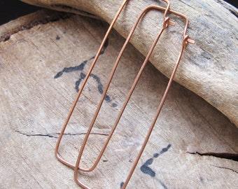 Rectangle Hoop Errings - Copper Geometric Earrings - Rustic Hoops - Earrings Findings