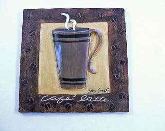 Handmade 3D Resin Coffee Cafe Latte Signed Coffee Shop or Kitchen Decor, Signed