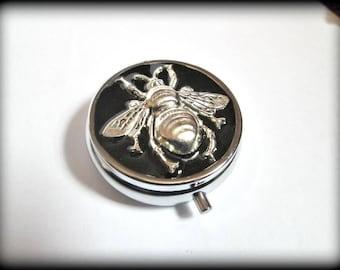 Metal Pill Box ,bee Pill Case, Gothic pill box, silver pill case , 3D pill box,steampunk bill box