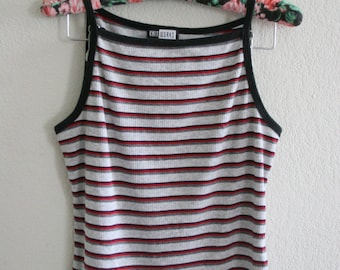90s square neck fitted ribbed striped tank top cami
