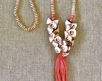Natural Shell Beads with Coral Tassel