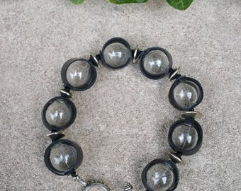 Small Glass Globe and Recycled Bicycle Inner-tube Rubber Bracelet