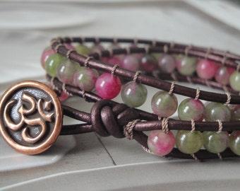 Rose/Pink/Green Agate Metallic Plum Leather Wrap Bracelet W/Om Button