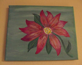 Abstract 8x10 Acrylic painting of red flower and green leaves