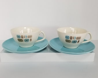 Midcentury Modern / Vintage Set of 2 Dura-Gloss Temporama Tea Cups and Saucers by Canonsburg Pottery