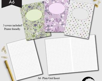 A6 size Grid Notebook Printable, Blank grid printable, Graph printable, square grid diy  CMP-216.1