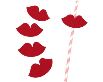 Red Lips Paper Straw Flags 25pcs PSF250002