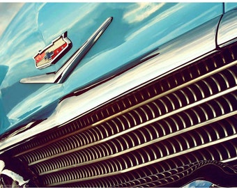Turquoise Chevy Impala Closeup Photo - Classic Car Art Photograph - Chevrolet Grille and Badge Wall Art - Blue and Silver at Sunset - Retro